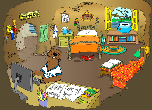 Raleigh Otter's den illustration from the Great Water Odyssey