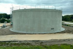 Large newly constructed water storage tank