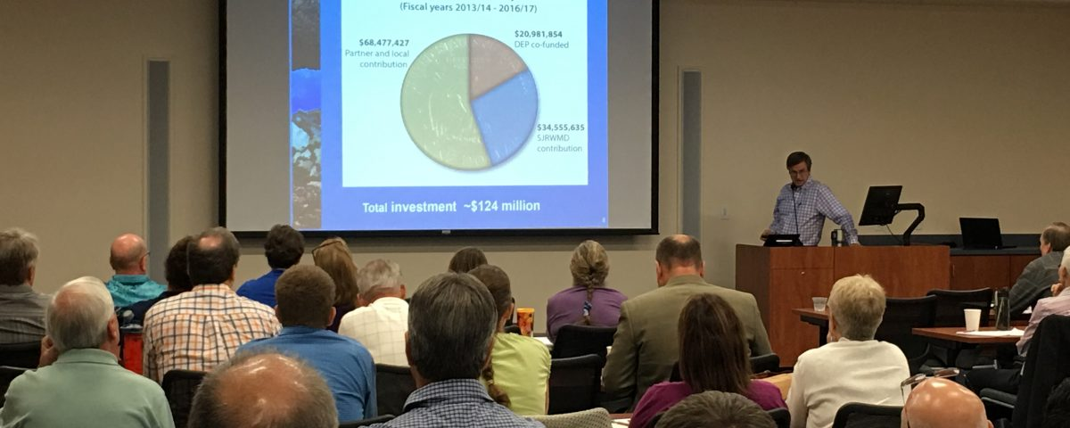 Casey Fitzgerald presenting information about spring cost-share projects