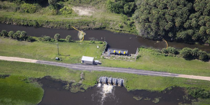 Aerial photo of a water control structure on C-1 canal