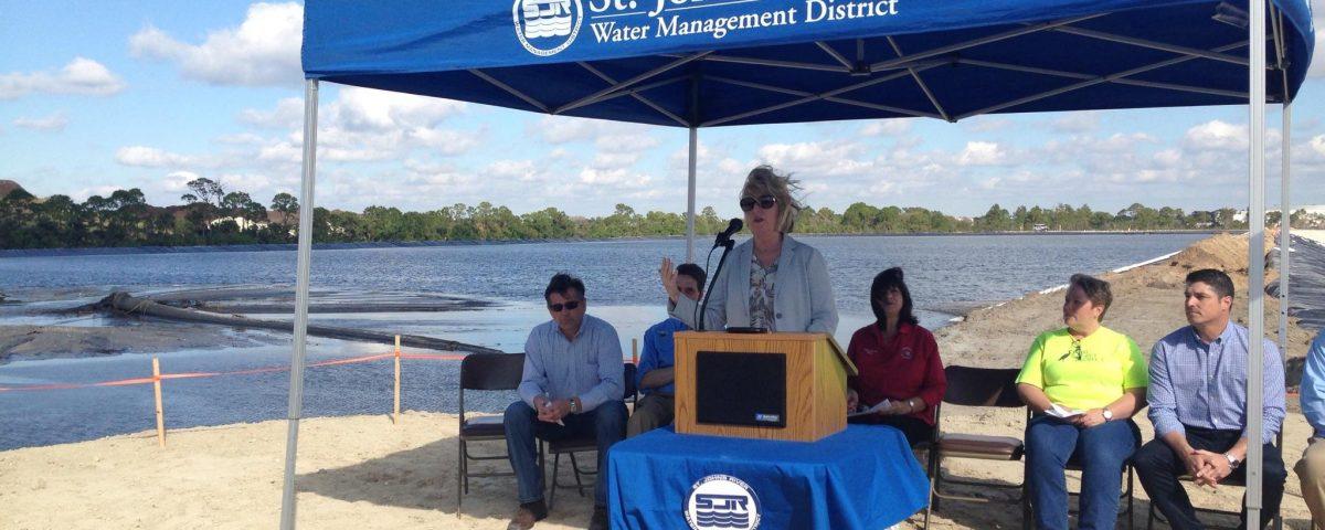 Dr. Shortelle speaking at the Eau Gallie dredging commencement event