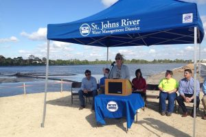 Dr. Shortelle speaking at the Eau Gallie dredging commencement event