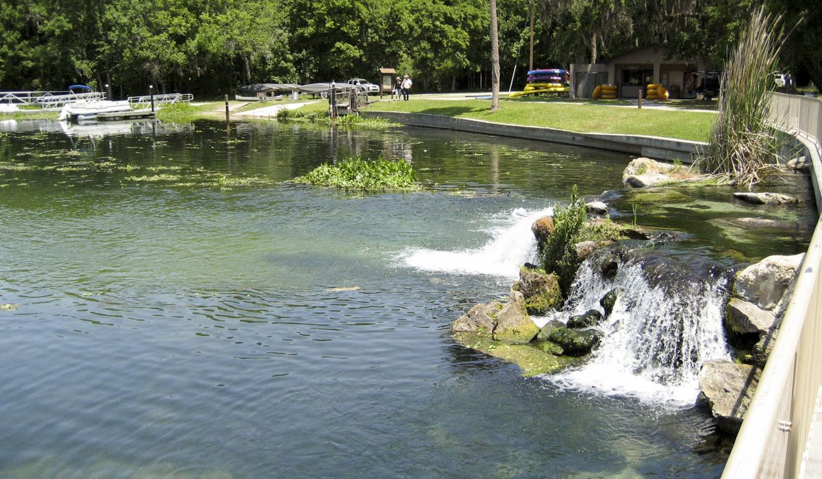 Water flowing over a small waterfall at Ponce de Leon Springs