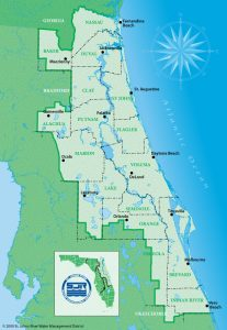 A map of the St. Johns River Water Management District that shows major cities, counties and large water bodies