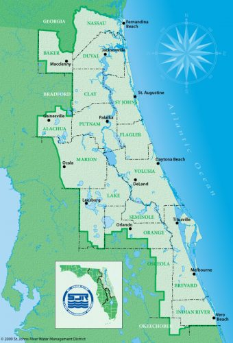 Map of the St. Johns River Water Management District