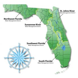 Map of Florida's water management districts