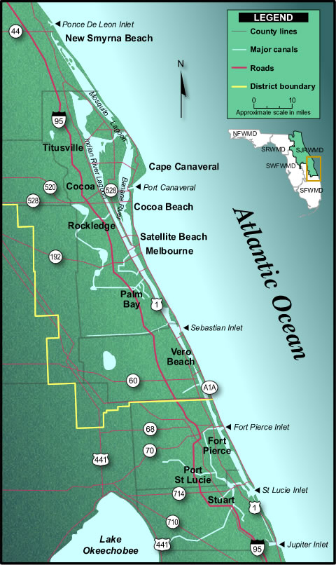 A map of eastern Florida for New Smyrna Beach to Stuart