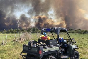 District staff keeping an eye on a prescribed fire