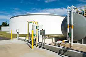 A large storage tank at a water supply plant