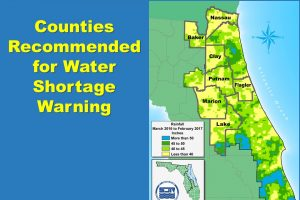 Map showing the Countied recommended for Water Shortage Warning