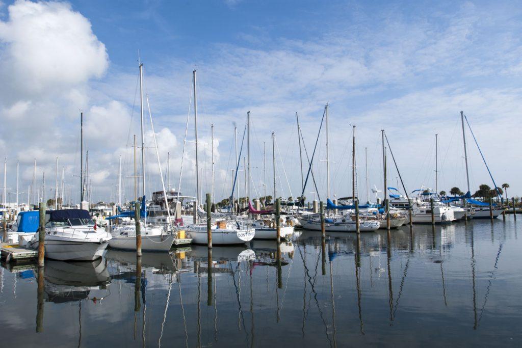 Sailboats in a marina
