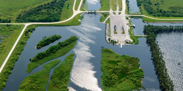The Upper St. Johns River Basin Project is semi-structural. Water control structures at Canal 54 channel water near the Stick Marsh.