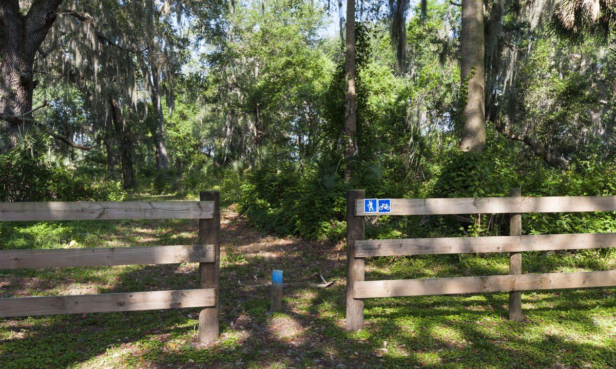 Trail entrance at Orange Creek Restoration Area