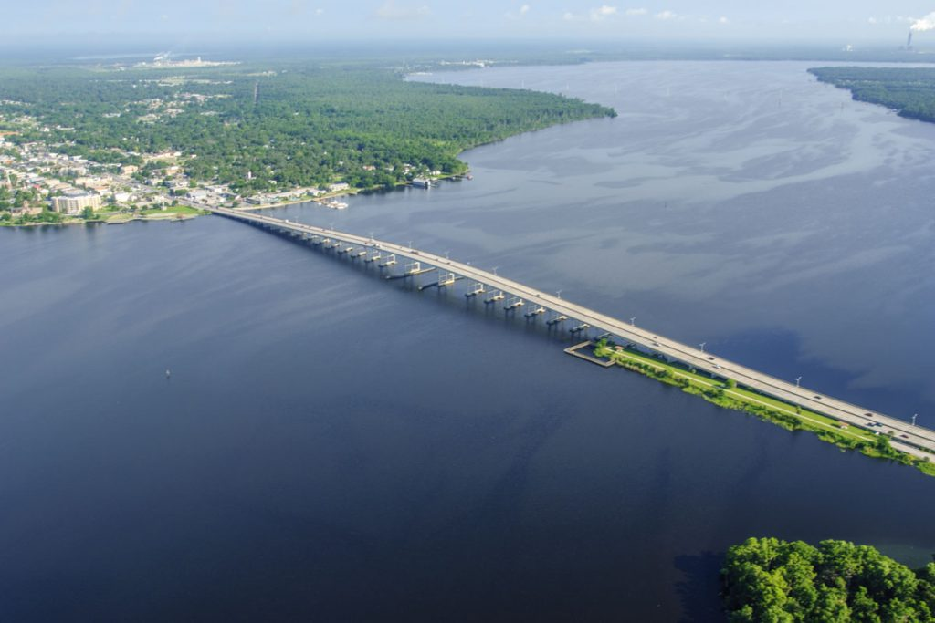 Aerial of the highway 100 bridge crossing the St. Johns River