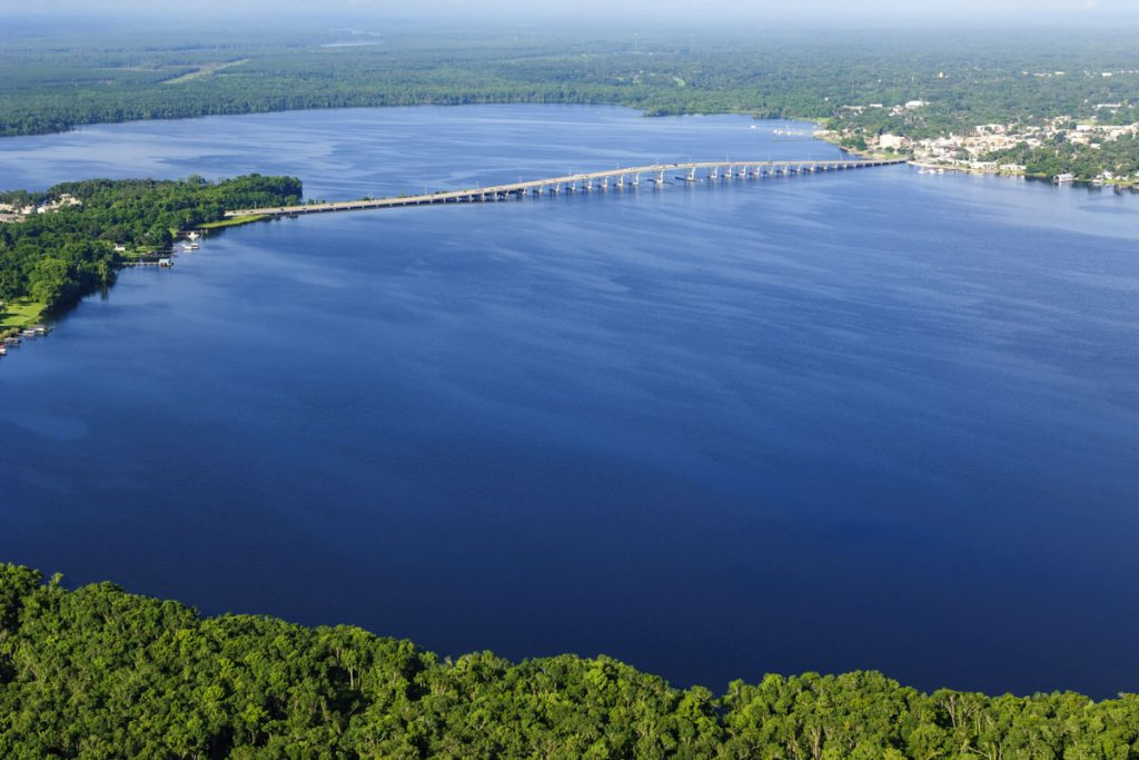 Aerial of the St. Johns River at Palatka