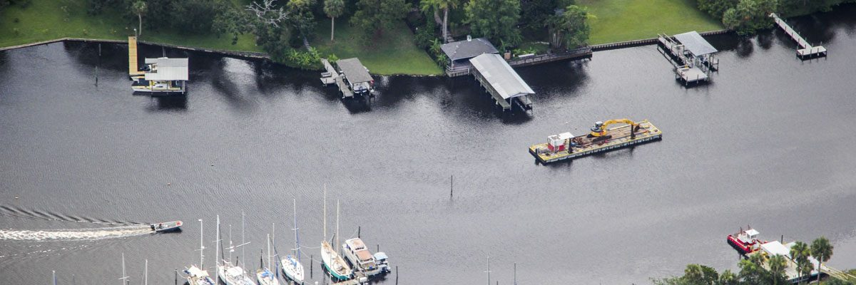 Aerial photograph of the Eau Gallie river dredging project in the Indian River Lagoon