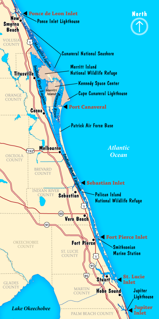Map of the extent of the Indian River Lagoon