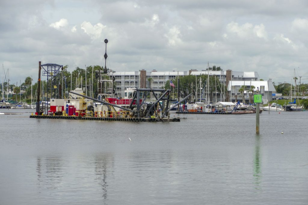 A dredging barge in the Eau Gallie River