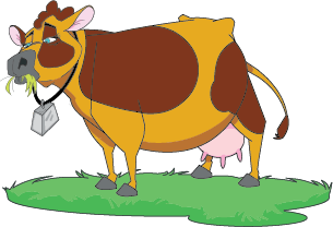 Illustration of a cow, Betty Moo from the Great Water Odyssey