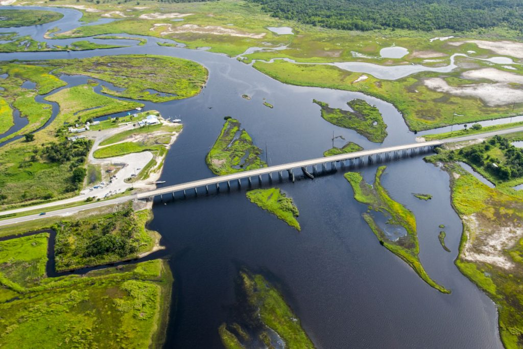 aerial of the SR46 bridge crossing the St. Johns River