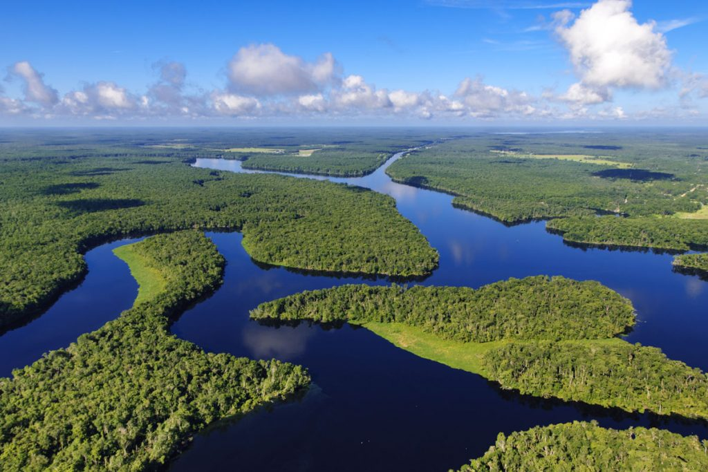Aerial of the Seven Sister Islands on the St. Johns River