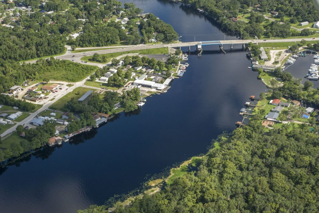 Aerial of the SR40 bridge crossing the St. Johns River