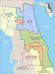 Map of water supply planning regions in the St. Johns river Water Management District