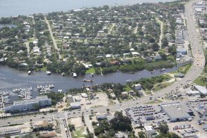 Aerial of dredging barge on the Eau Gallie River