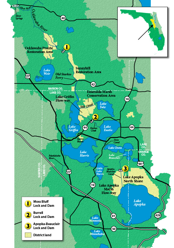 Map of the Upper Ocklawaha River Basin with control structure indicators