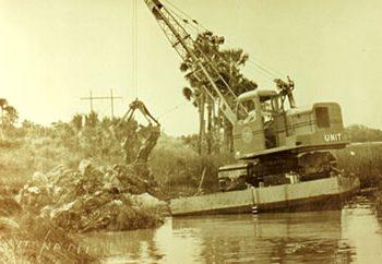 Historic dragline ditch excavation work