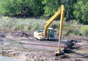 Dragline ditch restoration work