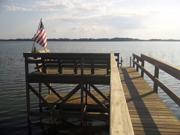 Boat dock on a large body of water