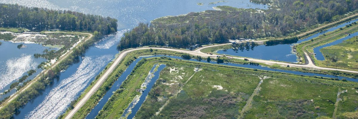 Aerial - Lake Apopka marsh flow-way