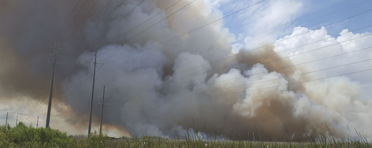 Large smoke plume from a wildfire in Brevard County