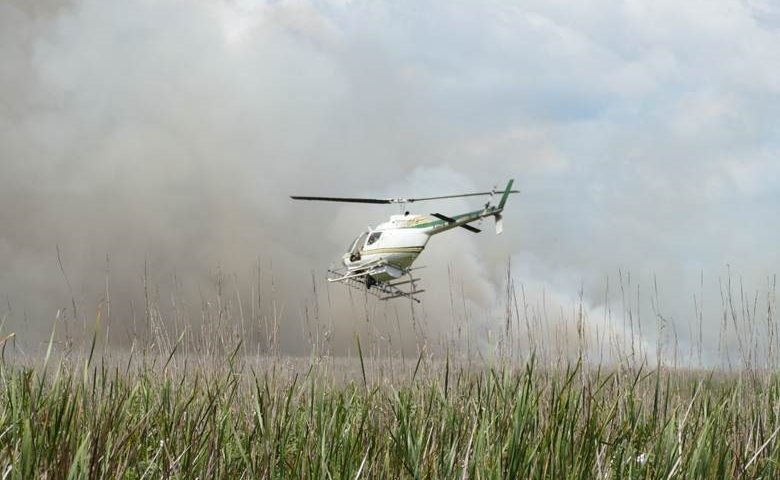 Helicopter used to fight wildfire flying low over a marsh