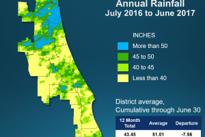 Annual Rainfall map for July 2016 to June 2017