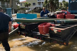 District staff working to pump floodwaters at Vilano Beach