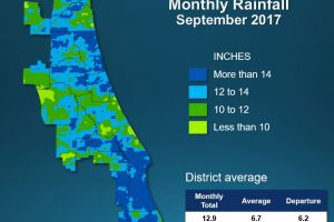Map of monthly rainfall for Septemeber 2017