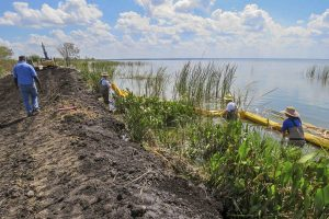 District staff install a floating barrier on the Lake Apopka North Shore