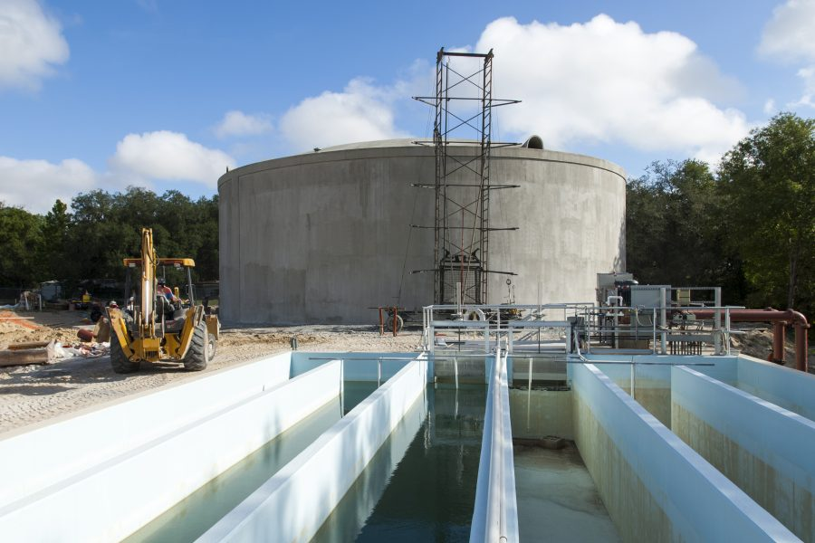 Construction at the Lady Lake water treatment plant. Water supply utilities are permitted to distribute water through the district's permitting program.
