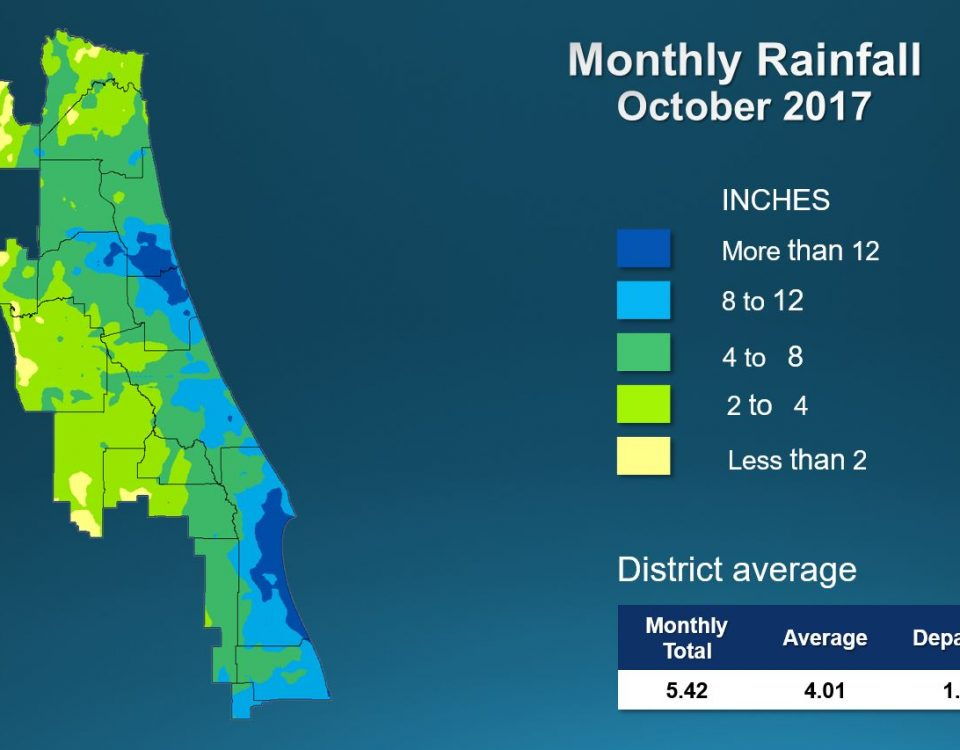 Map of monthly rainfall for October 2017