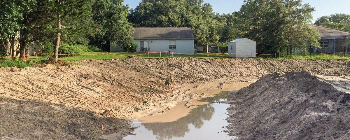 Stormwater retention pond under construction