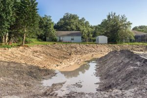 Stormwater retention pond under construction