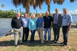Dr. Ann Shortelle and project partners at the Cocoa Beach Dredging Project kickoff event