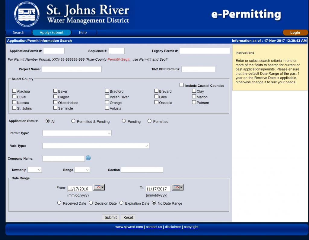 e-Permitting Applicaiton/Permit Information Search screen