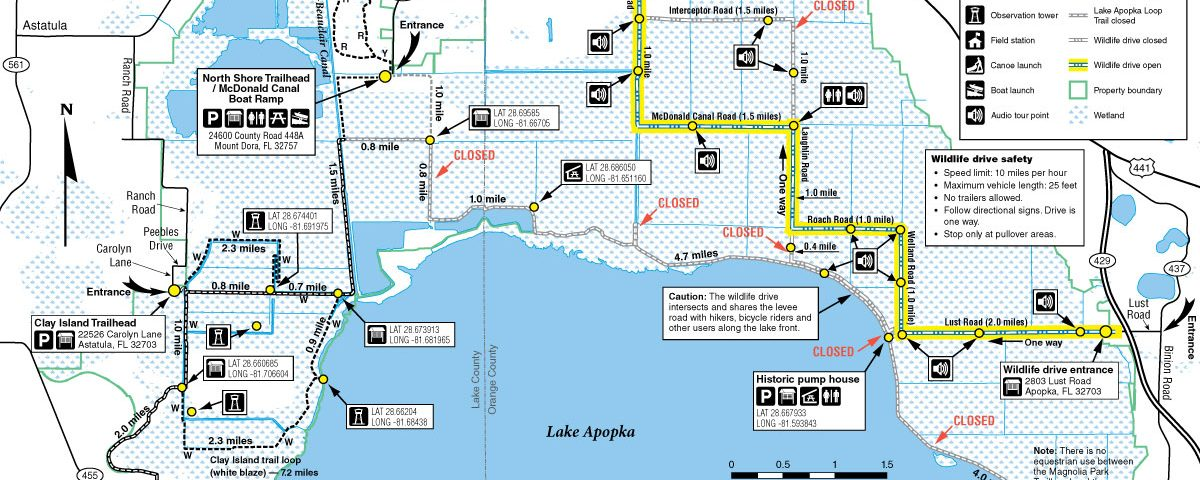 Map of closed trails on the Lake Apopka North Shore