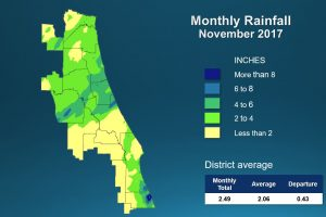 Map of Monthly Rainfall for November 2017