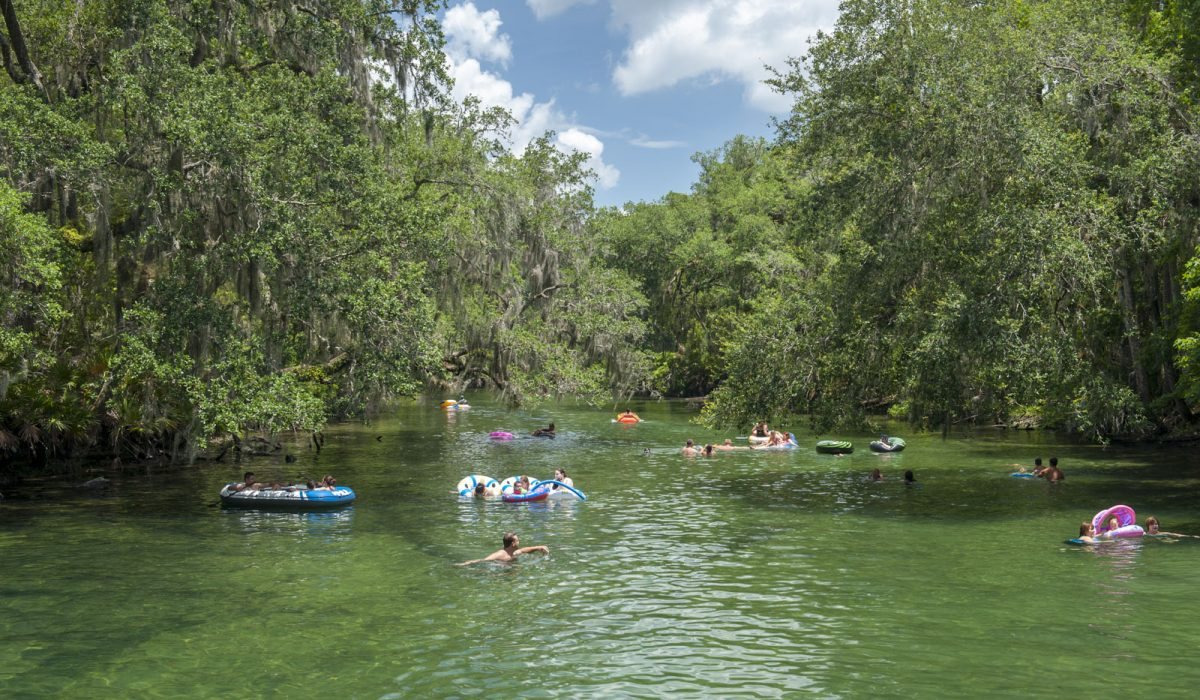 People tubing and swimming at Blue Spring run in Volusia County
