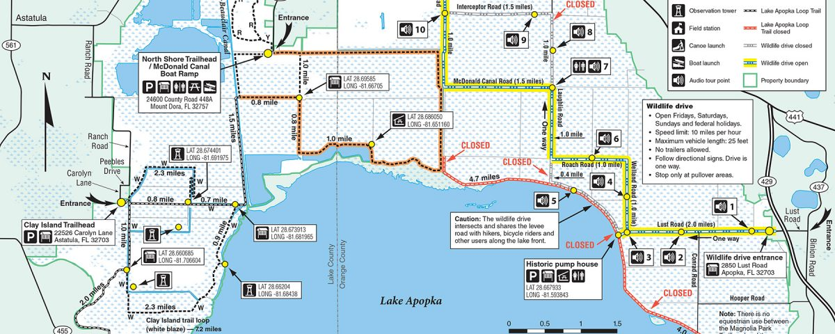 Map of trails closed at Lake Apopka North Shore