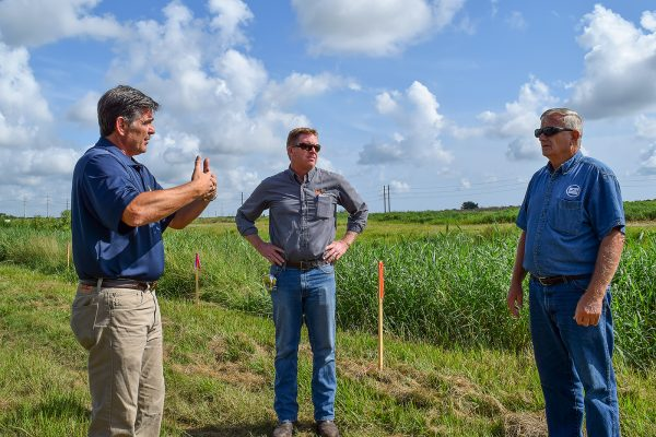 Woody Boynton, bureau chief for the district's Bureau of Operations and Maintenance, (left) explains a project design at Micco Stormwater Park in south Brevard County.